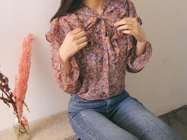 Romantic flower frill ribbon see-through blouse