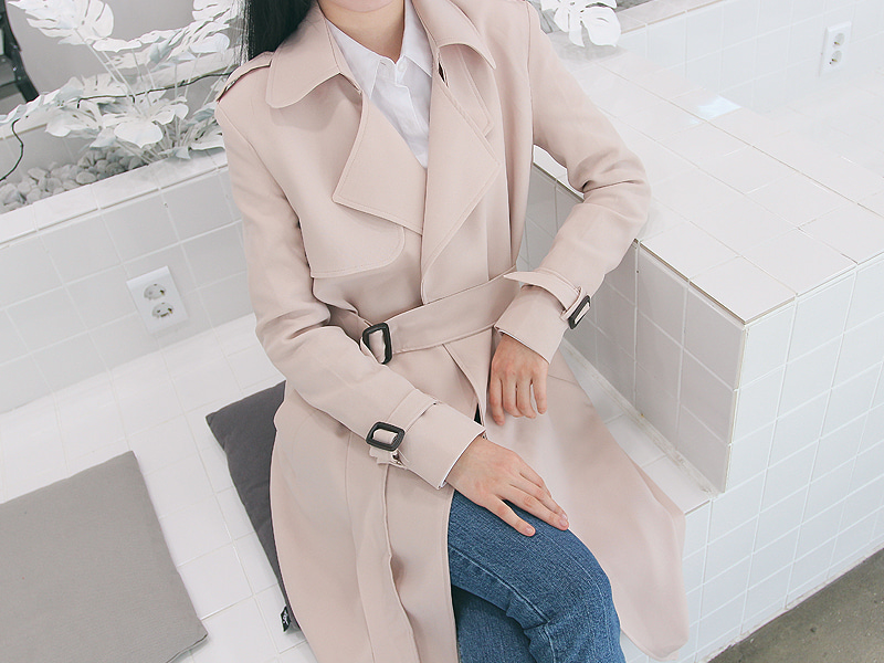 Slim long trench coat