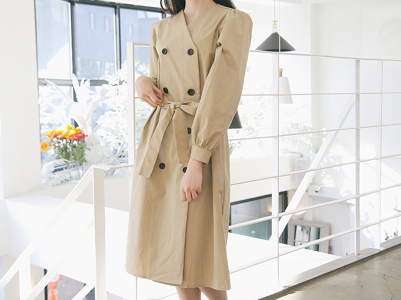 Double button ribborn trench coat