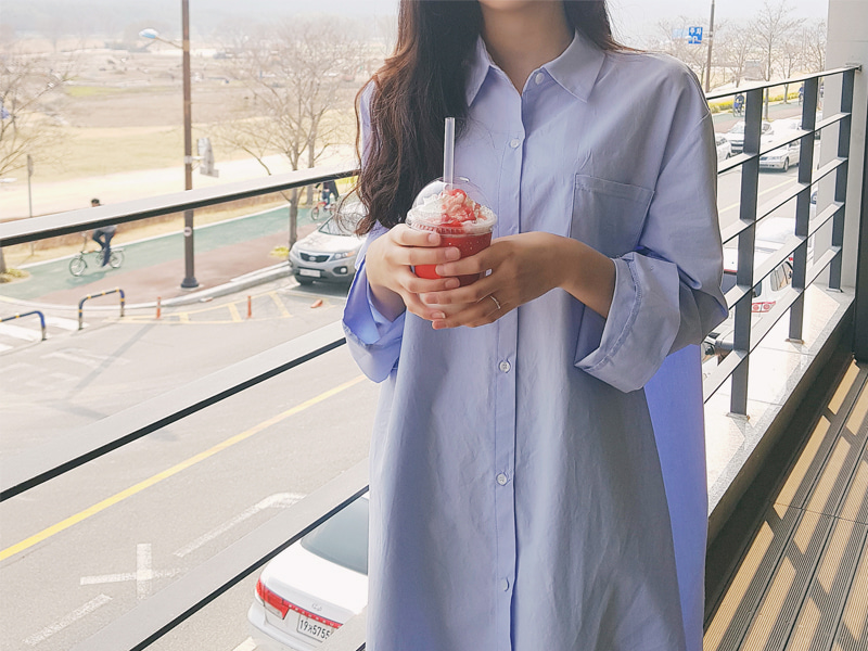 Pastel cotton long shirts dress