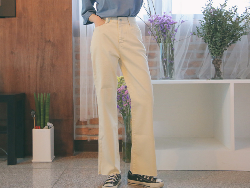 Creamy vintage cutting wide pants