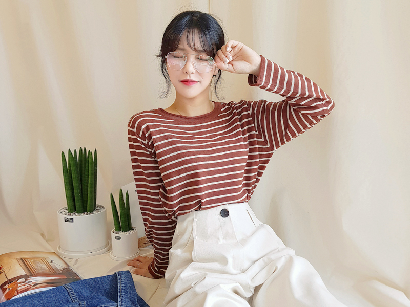 Stripe loose fit knit