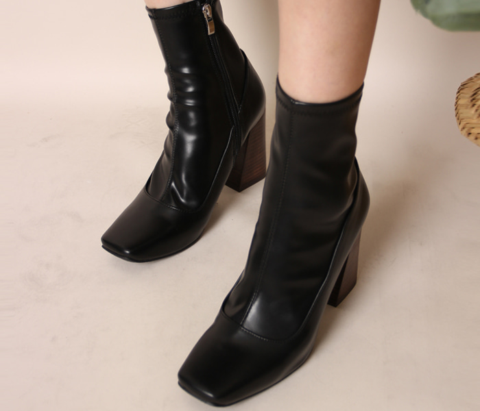 Wood heel ankle boots