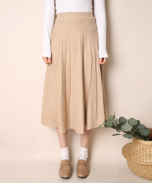 Knit long pleats skirt