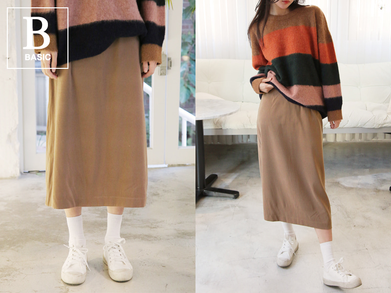 Suede slit long skirt