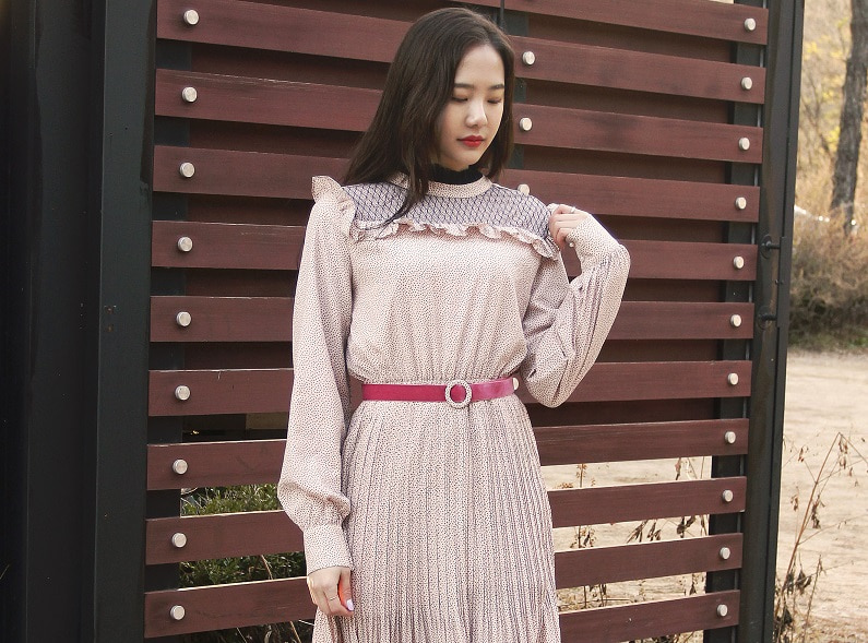 Dot belt frill long dress